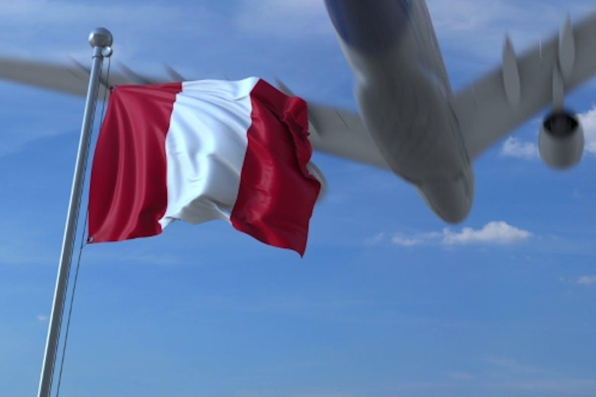 Avión Volador sobre bandera ondeando del Perú de moovstock en Envato  Elements
