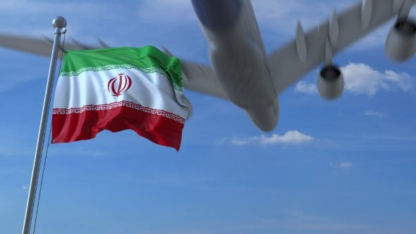 Thumbnail for Airplane Flying Over Waving Flag of Iran