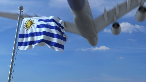 Thumbnail for Airplane Flying Over Waving Flag of Uruguay