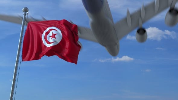 Thumbnail for Airplane Flying Over Waving Flag of Tunisia