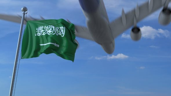 Thumbnail for Airplane Flying Over Waving Flag of Saudi Arabia