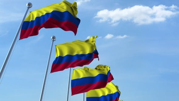 Thumbnail for Multiple Waving Flags of Colombia Against the Blue Sky