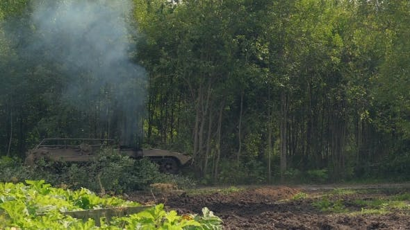 Military Tank Breaks Down Green Trees To Build Road in Forest for Fight Enemy
