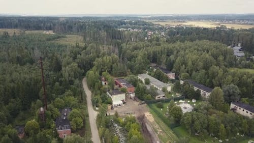 Aerial Shooting From Drone Over Military Area for Shooting Training Soldiers