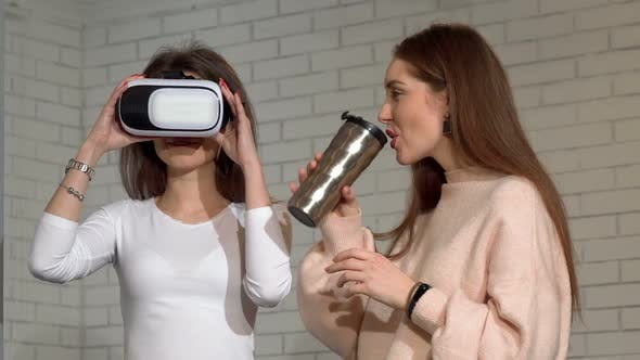 Thumbnail for Two Lovely Female Friends Using 3d Virtual Reality Goggles Together
