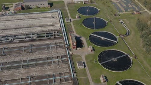 Round Polls in Wastewater Treatment Plant, Filtration of Dirty or Sewage Water