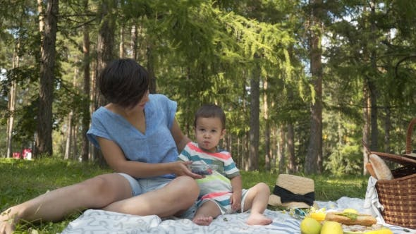 Thumbnail for Mother and Child Eat the Berries at the Picnic