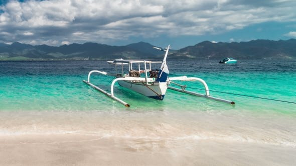 Cover Image for Fisherman Boat on Beach Gili Island, Indonesia