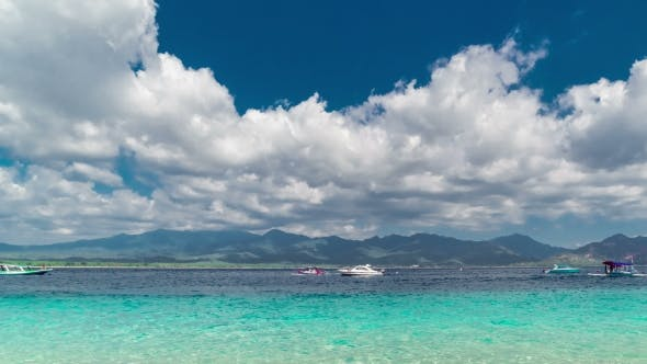 Cover Image for Azure Sea on Background Lombok Island with Sky and Clouds, Indonesia