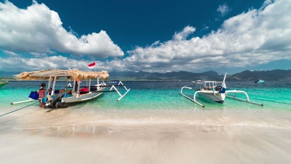 Thumbnail for Traditional Boats on Gili Island Beach in Indonesia