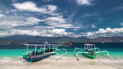 Indonesian Boats on Tropical Beach on Gili Island, Indonesia