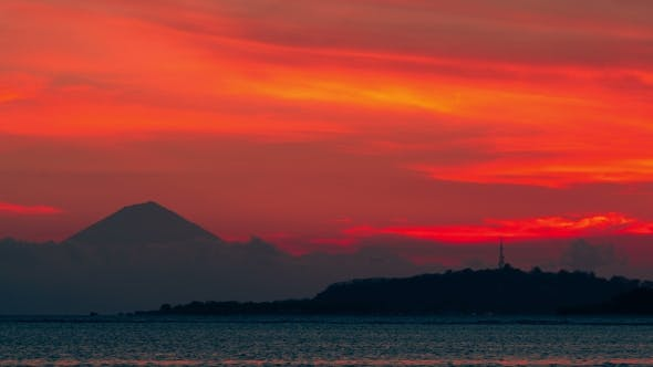 Thumbnail for The Sunsets Over the Background Volcano Agung and Island of Gili Trawangan, Indonesia