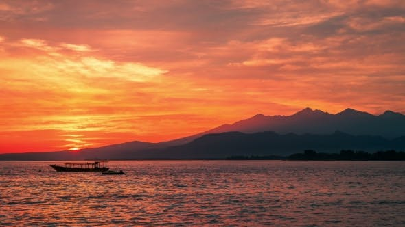 Thumbnail for Dawn Above Volcano Rinjani To the Island Lombok with Boat in Indonesia