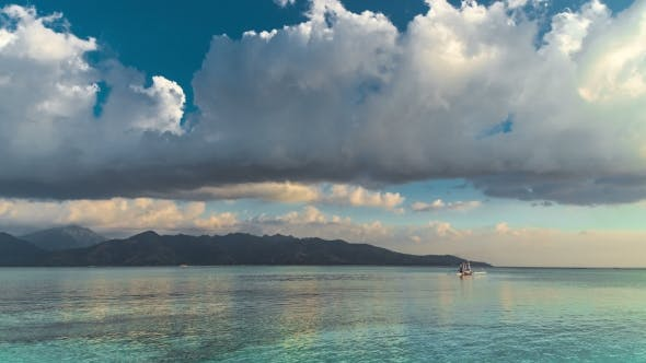 Cover Image for Sky and Clouds Above the Sea on Background Lombok Island, Indonesia
