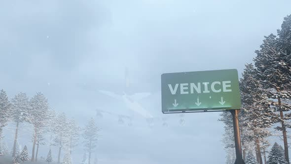Thumbnail for Airplane Arrives to Venice In Snowy Winter