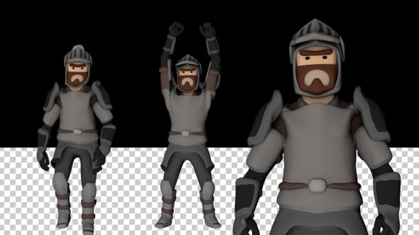 Thumbnail for Low Poly Knight Walk and Victory Animations