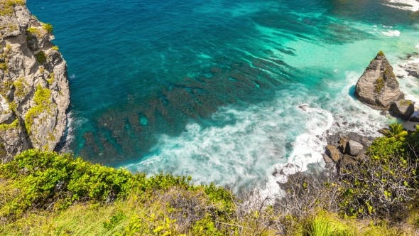 Thumbnail for View From the Cliff To Hidden White Atuh Beach at Nusa Penida Island, Bali, Indonesia