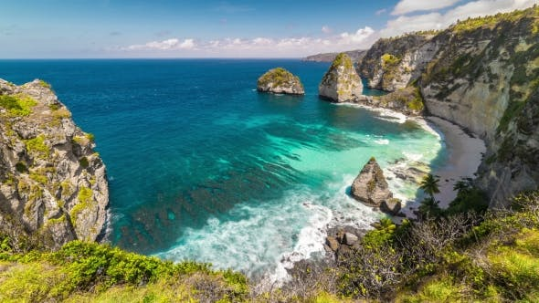 Thumbnail for View From the Cliff To White Atuh Beach at Nusa Penida Island, Bali, Indonesia