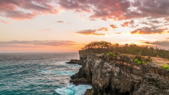 Cover Image for Sunset Near Broken Beach at Nusa Penida Island, Indonesia