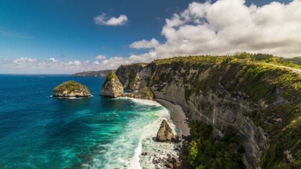 Thumbnail for Rocky Coast with Big Waves and Clouds at Nusa Penida Island, Indonesia