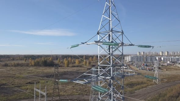 Thumbnail for Flying Up the High Voltage Electricity Tower and Power Lines