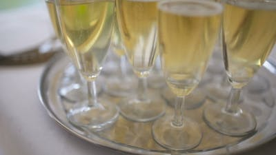 Champagne. Many Champagne Flutes with Sparkling Champagne