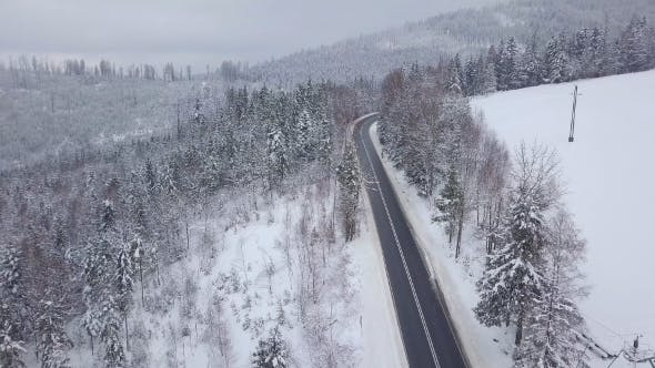 Thumbnail for Majestic View of Road in Snowy Mountains