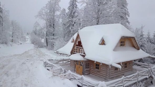 Thumbnail for Wooden Snowy House in Woodland