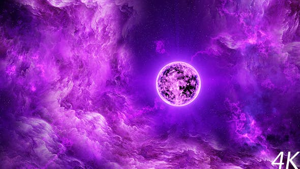 Cover Image for Travel Through Abstract Purple Space Nebula to the Big Purple Star