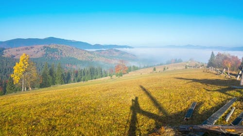 Autumn. Misty Morning in the Mountains