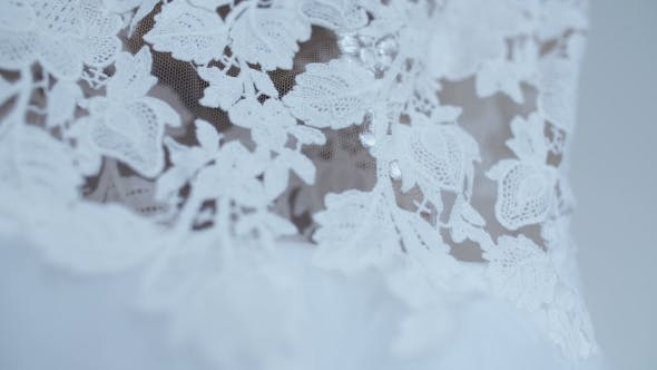 Thumbnail for Beautiful White Wedding Dress Detail