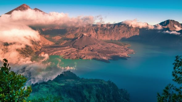Thumbnail for Tropical Panorama  View of Volcano Mountain Rinjani in Lombok, Indonesia