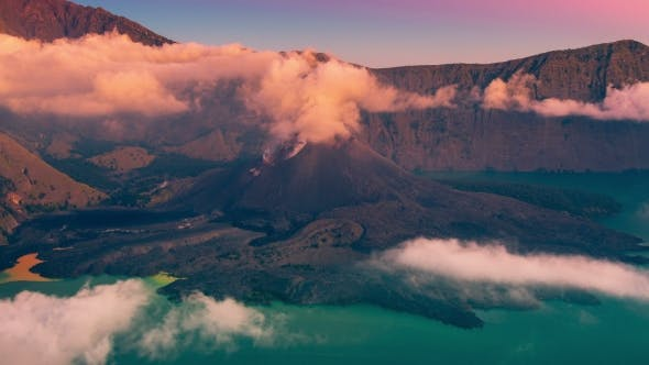 Thumbnail for Barujari Volcano Cone Inside Mt. Rinjani Caldera in Lombok Island, Indonesia