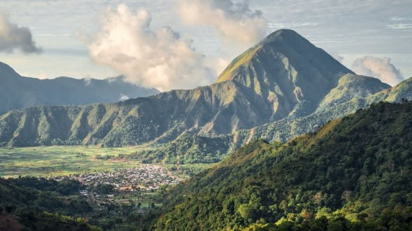 Cover Image for View of the Clouds Above the Sembalun Mountain, Lombok Island, Indonesia