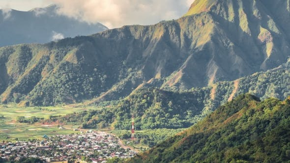 Thumbnail for View Over the Sembalun Village and the Top of the Mountain, Lombok, Indonesia
