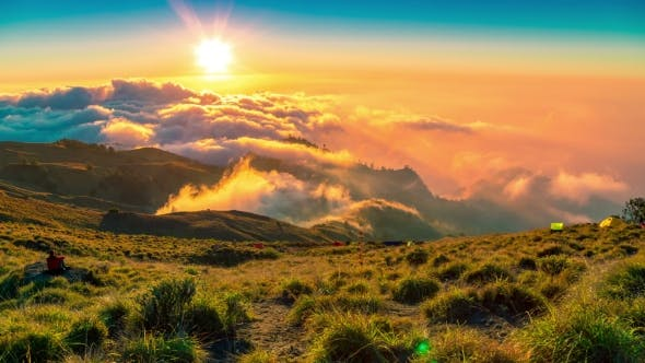 Thumbnail for Haven Bright Green Hill Above the Cloud at Mountain Rinjani, Lombok, Indonesia