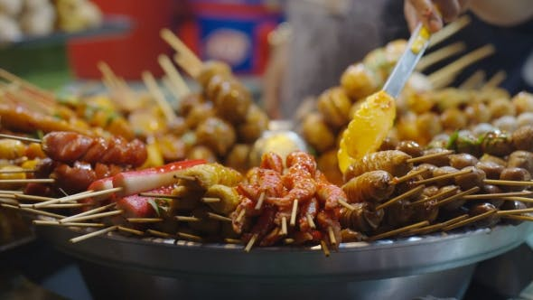 Thumbnail for Asian Street Food Grilled Seafood and Sausages