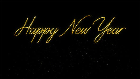 Happy New Year - Glitter Animation with Transparency