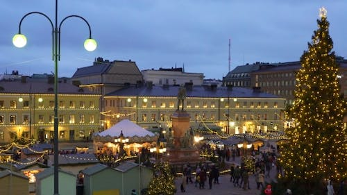 Traditional Holiday Market with Christmas Tree