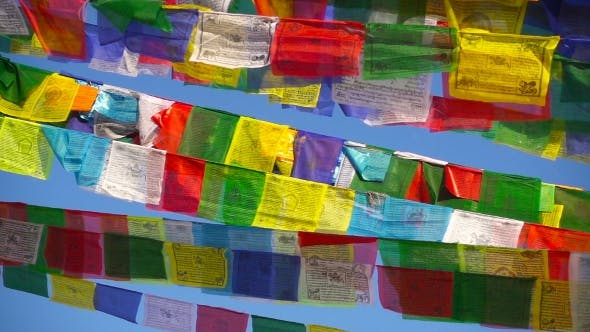 Thumbnail for Buddhist Prayer Flags Wave in the Wind