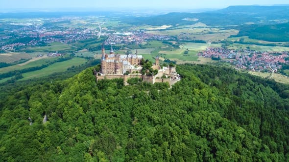 Thumbnail for Hohenzollern Castle, Germany. Aerial FPV Drone Flights