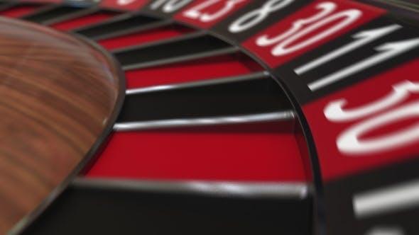 Thumbnail for Casino Roulette Wheel Ball Hits 7 Seven Red
