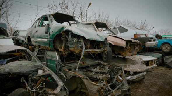 Thumbnail for Broken Cars That Are on the Landfill of Vehicles, Rusted and Broken Cars Are Waiting