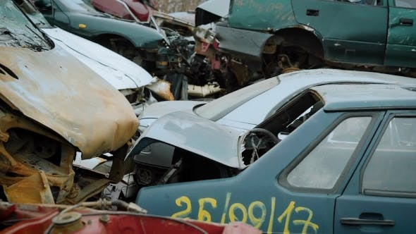 Cars That Are in the Landfill of Vehicles, a Scrap Heap That Will Be Used for Recycling