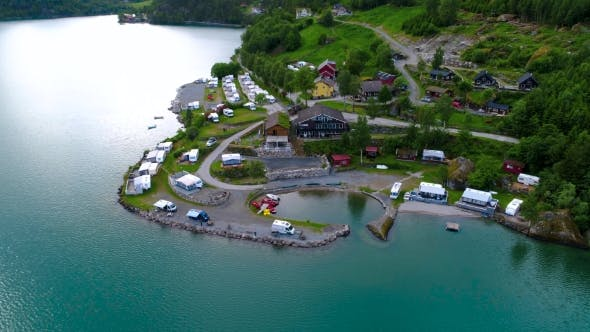 Thumbnail for Beautiful Nature Norway Aerial View of the Campsite To Relax.