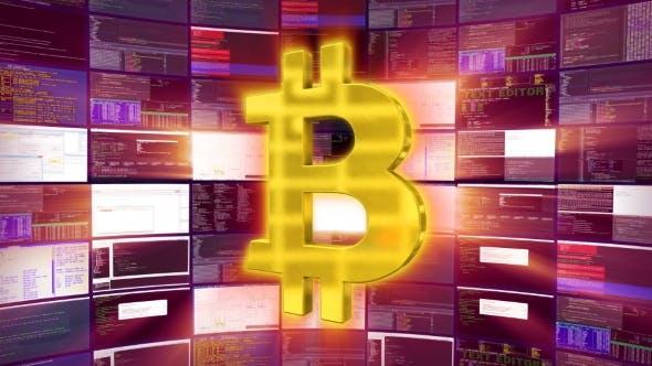 Gold Bitcoin Sign Against a Purple Mining Farm