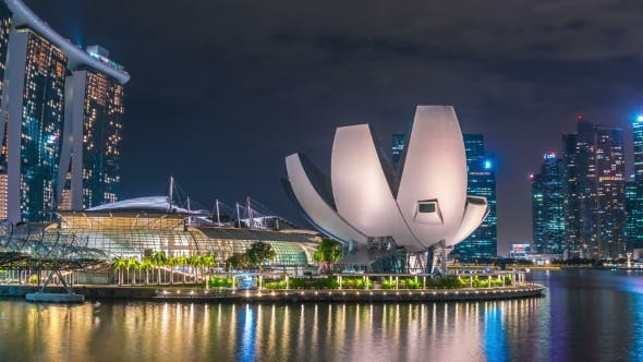 Thumbnail for Helix Bridge and Marina Bay Sands at Night in Singapore. August 2017