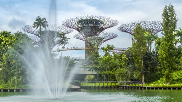 Thumbnail for Fountain at the Front Garden By the Bay in Singapore. August 2017