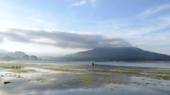 Thumbnail for View Sunset Over Batur Lake Near Batur Volcano Kintamani Area Bali Indonesia