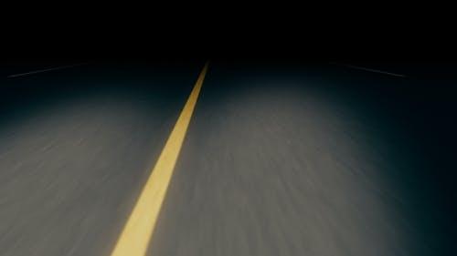 Endless Seamless Night Asphalt Road with Dividing Strip